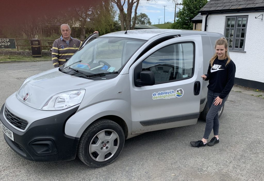 Phil and Elin with the delivery vehicle.